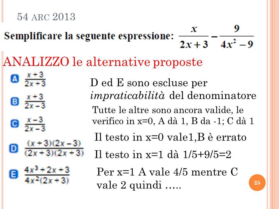 54 ARC 2013 25 ANALIZZO le alternative proposte D ed E sono escluse per impraticabilità del denominatore Tutte le altre sono ancora valide, le verifico in x=0, A dà 1, B da -1; C dà 1 Il testo in x=0 vale1,B è errato Il testo in x=1 dà 1/5+9/5=2 Per x=1 A vale 4/5 mentre C vale 2 quindi …..