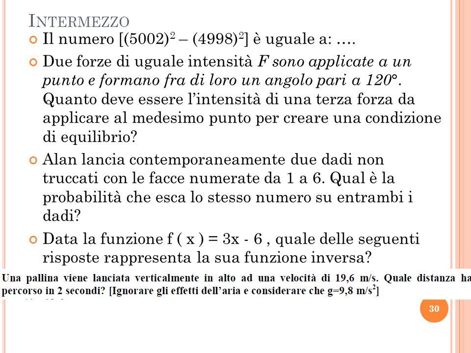 I NTERMEZZO Il numero [(5002) 2 – (4998) 2 ] è uguale a: ….