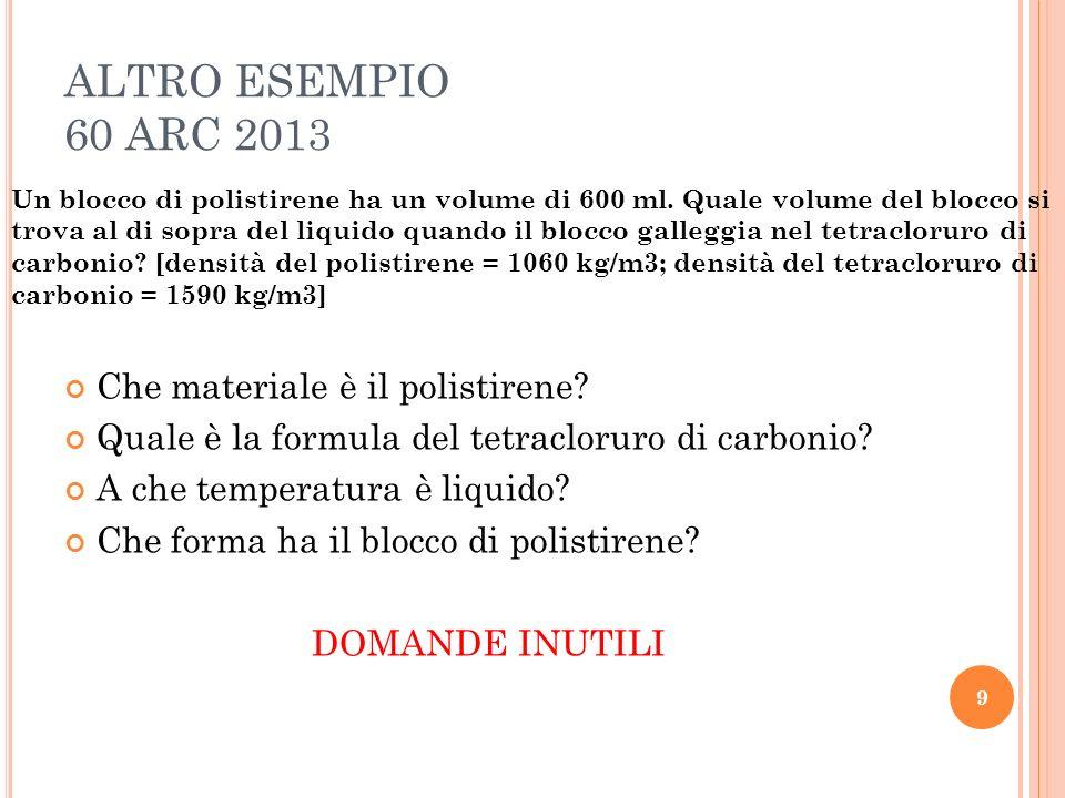 ALTRO ESEMPIO 60 ARC 2013 Che materiale è il polistirene.