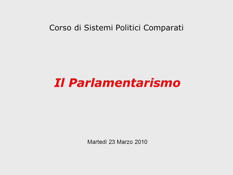 Corso di Sistemi Politici Comparati Il Parlamentarismo Martedì 23 Marzo 2010