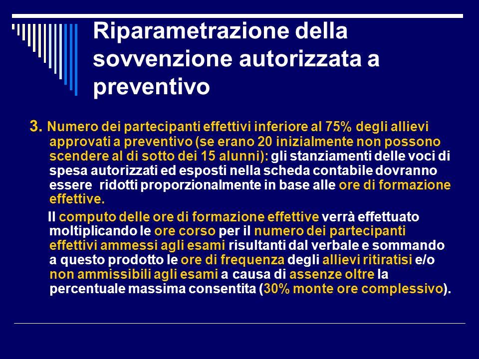 Riparametrazione della sovvenzione autorizzata a preventivo 3.