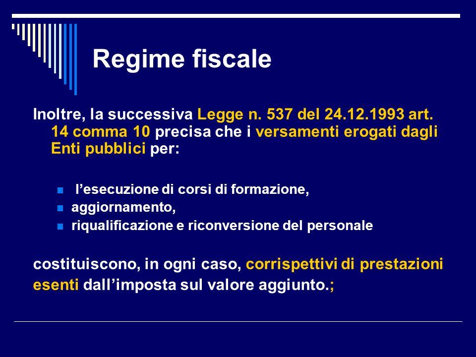 Regime fiscale Inoltre, la successiva Legge n. 537 del 24.12.1993 art.