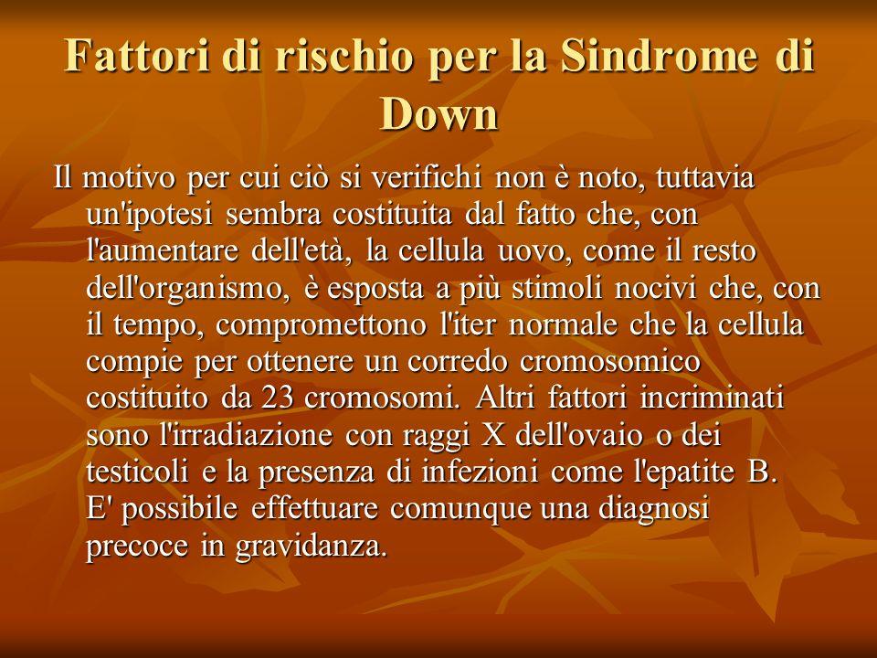 Fattori di rischio per la Sindrome di Down Il motivo per cui ciò si verifichi non è noto, tuttavia un'ipotesi sembra costituita dal fatto che, con l'a
