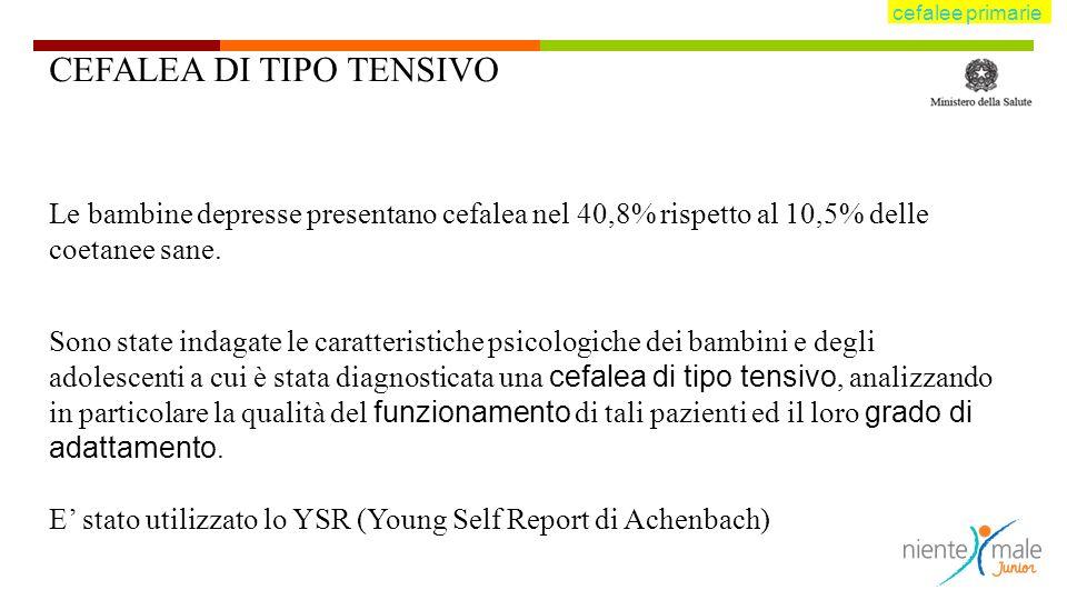 CEFALEA DI TIPO TENSIVO Le bambine depresse presentano cefalea nel 40,8% rispetto al 10,5% delle coetanee sane.
