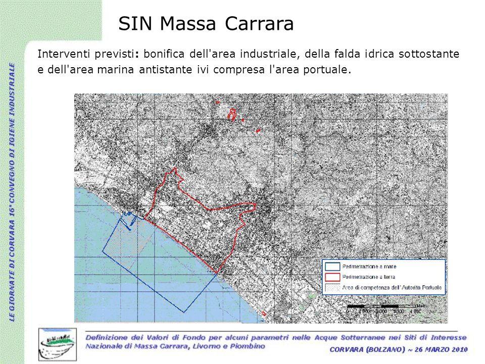 SIN Massa Carrara Interventi previsti: bonifica dell'area industriale, della falda idrica sottostante e dell'area marina antistante ivi compresa l'are