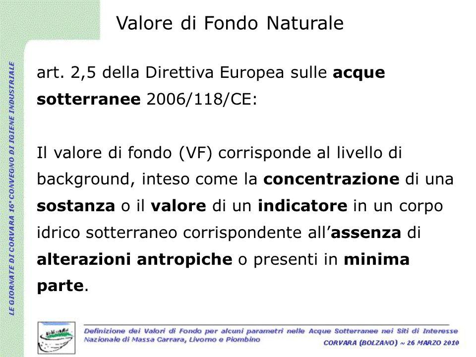 art. 2,5 della Direttiva Europea sulle acque sotterranee 2006/118/CE: Il valore di fondo (VF) corrisponde al livello di background, inteso come la con