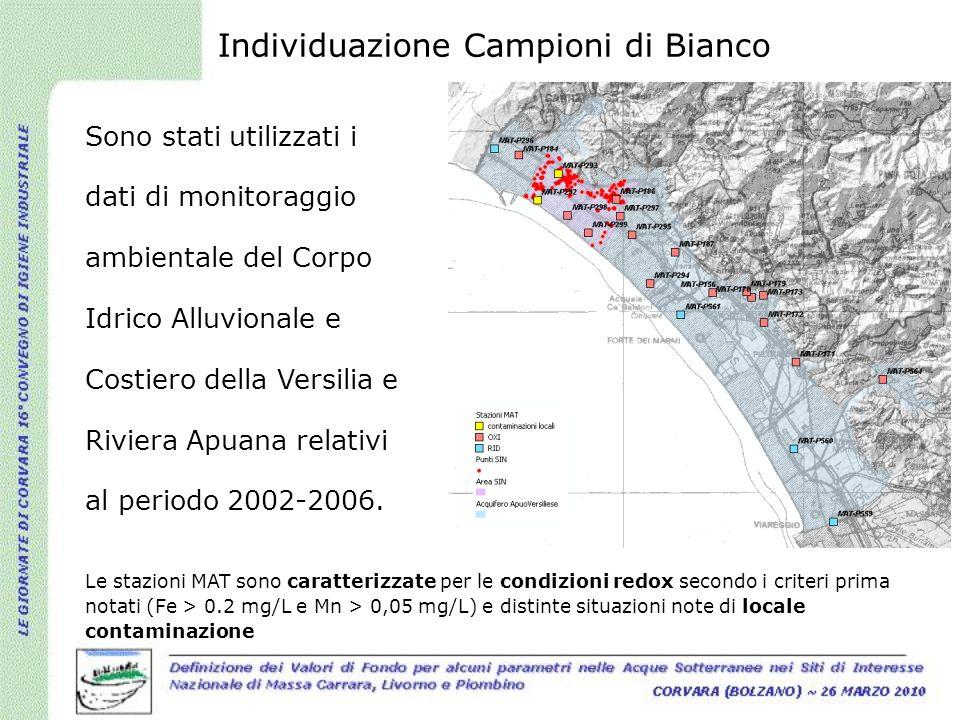 Sono stati utilizzati i dati di monitoraggio ambientale del Corpo Idrico Alluvionale e Costiero della Versilia e Riviera Apuana relativi al periodo 20