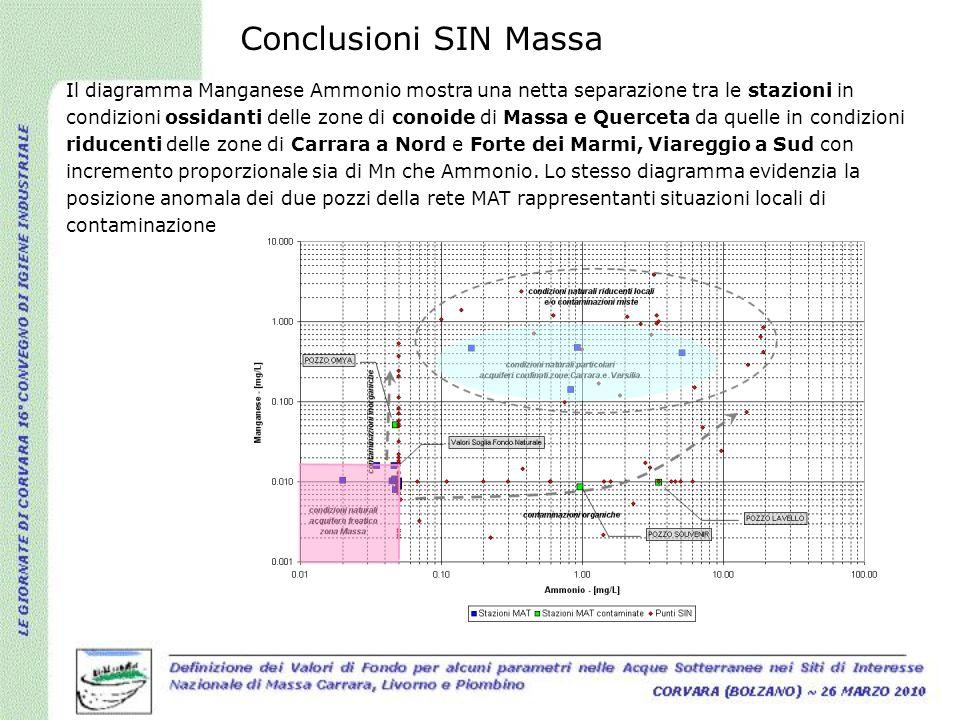 Il diagramma Manganese Ammonio mostra una netta separazione tra le stazioni in condizioni ossidanti delle zone di conoide di Massa e Querceta da quell