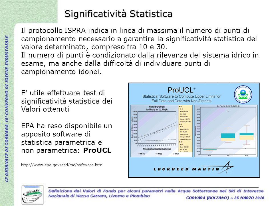 Significatività Statistica Il protocollo ISPRA indica in linea di massima il numero di punti di campionamento necessario a garantire la significativit