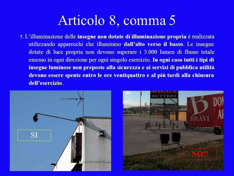 Articolo 8, comma 5 5. Lilluminazione delle insegne non dotate di illuminazione propria è realizzata utilizzando apparecchi che illuminino dallalto ve