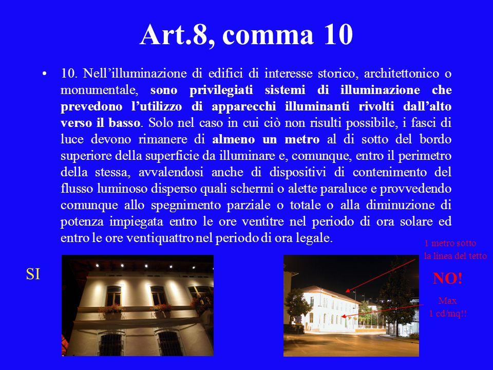 Art.8, comma 10 10. Nellilluminazione di edifici di interesse storico, architettonico o monumentale, sono privilegiati sistemi di illuminazione che pr