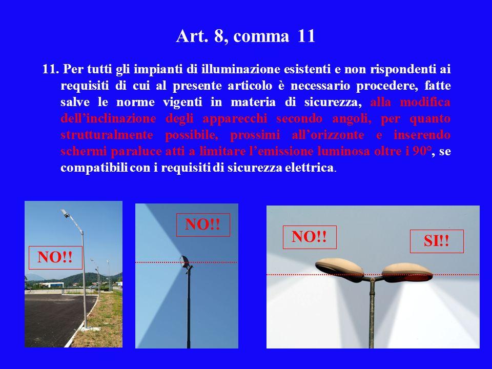 Art. 8, comma 11 11. Per tutti gli impianti di illuminazione esistenti e non rispondenti ai requisiti di cui al presente articolo è necessario procede