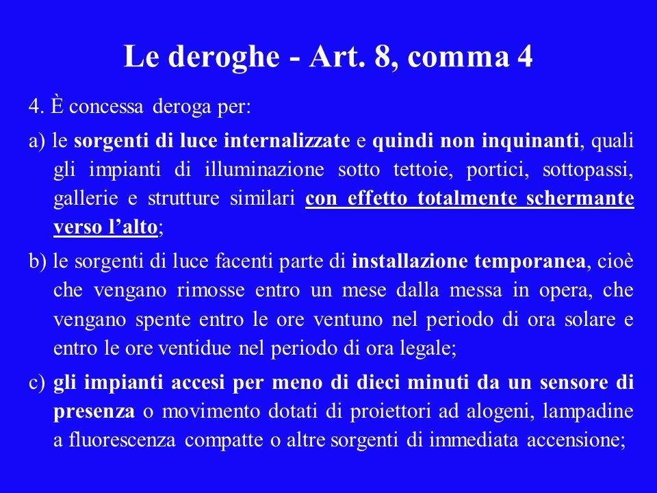 Le deroghe - Art. 8, comma 4 4. È concessa deroga per: a) le sorgenti di luce internalizzate e quindi non inquinanti, quali gli impianti di illuminazi