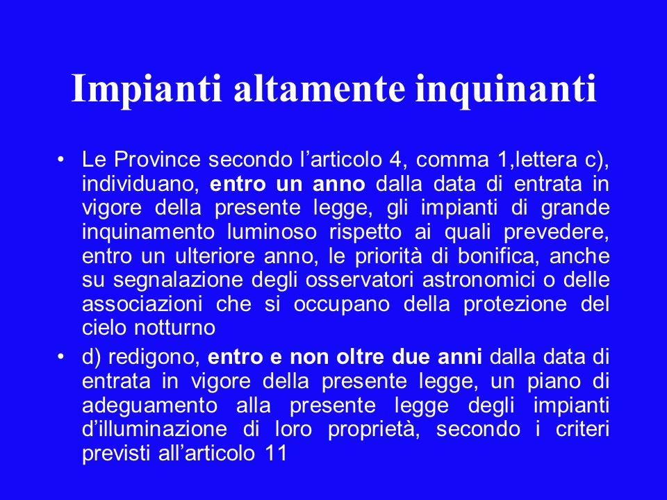 Impianti altamente inquinanti Le Province secondo larticolo 4, comma 1,lettera c), individuano, entro un anno dalla data di entrata in vigore della pr