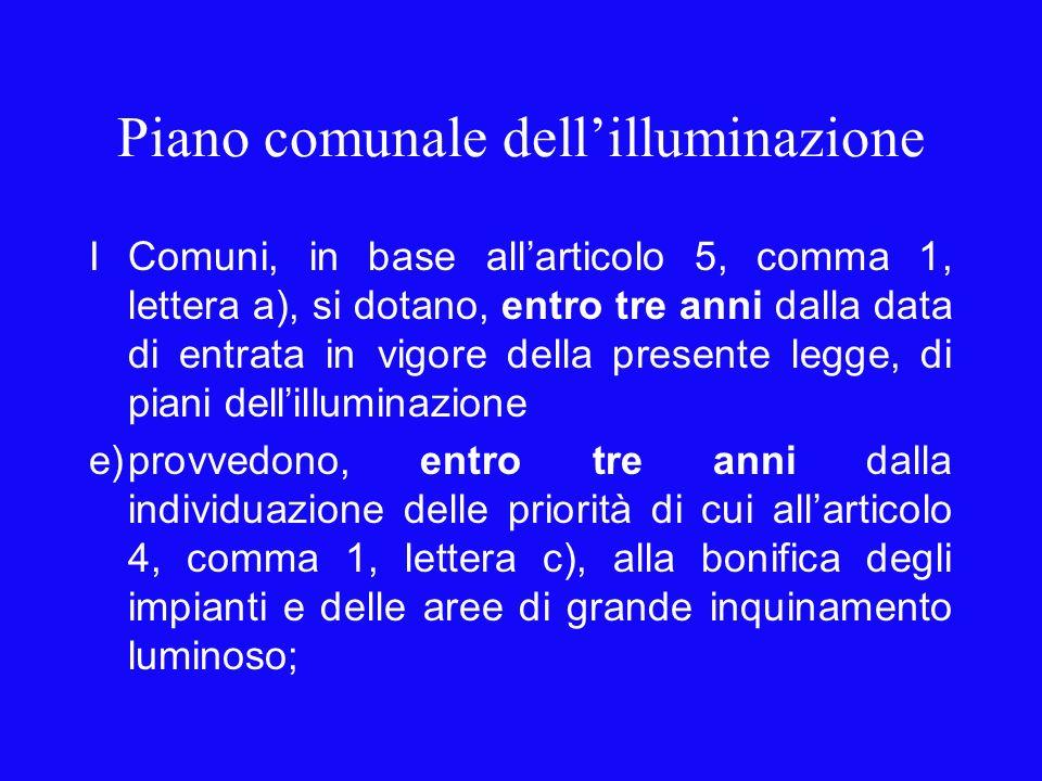 Piano comunale dellilluminazione I Comuni, in base allarticolo 5, comma 1, lettera a), si dotano, entro tre anni dalla data di entrata in vigore della