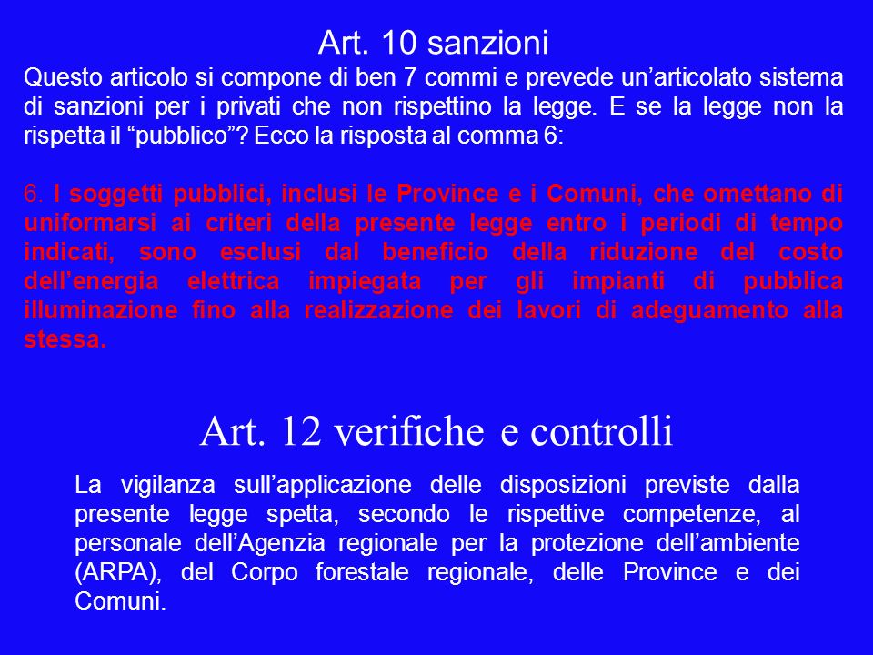 Art. 12 verifiche e controlli La vigilanza sullapplicazione delle disposizioni previste dalla presente legge spetta, secondo le rispettive competenze,