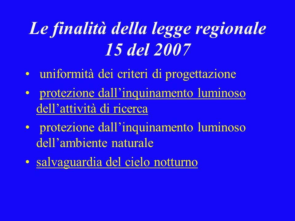 Le finalità della legge regionale 15 del 2007 uniformità dei criteri di progettazione protezione dallinquinamento luminoso dellattività di ricerca protezione dallinquinamento luminoso dellambiente naturale salvaguardia del cielo notturno