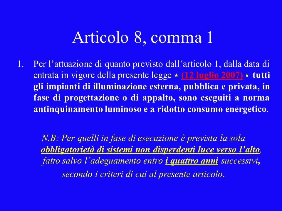 Articolo 8, comma 1 1.Per lattuazione di quanto previsto dallarticolo 1, dalla data di entrata in vigore della presente legge (12 luglio 2007) tutti g