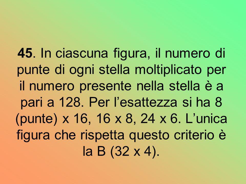 45. In ciascuna figura, il numero di punte di ogni stella moltiplicato per il numero presente nella stella è a pari a 128. Per lesattezza si ha 8 (pun