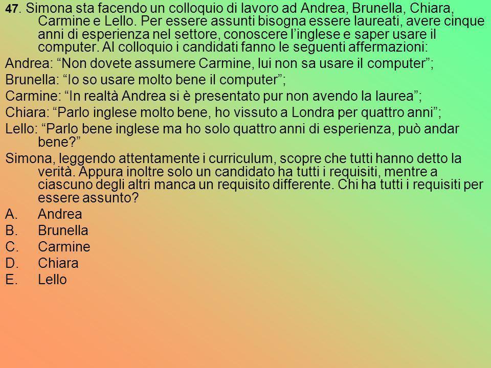 47. Simona sta facendo un colloquio di lavoro ad Andrea, Brunella, Chiara, Carmine e Lello. Per essere assunti bisogna essere laureati, avere cinque a