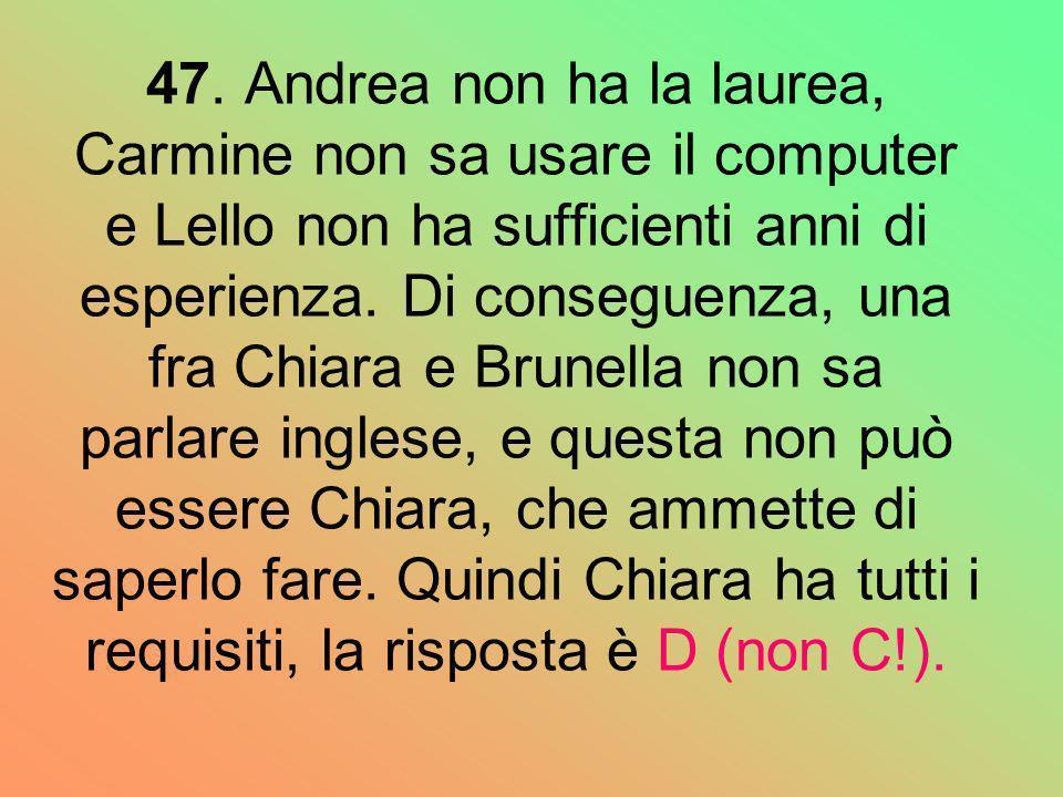 47. Andrea non ha la laurea, Carmine non sa usare il computer e Lello non ha sufficienti anni di esperienza. Di conseguenza, una fra Chiara e Brunella