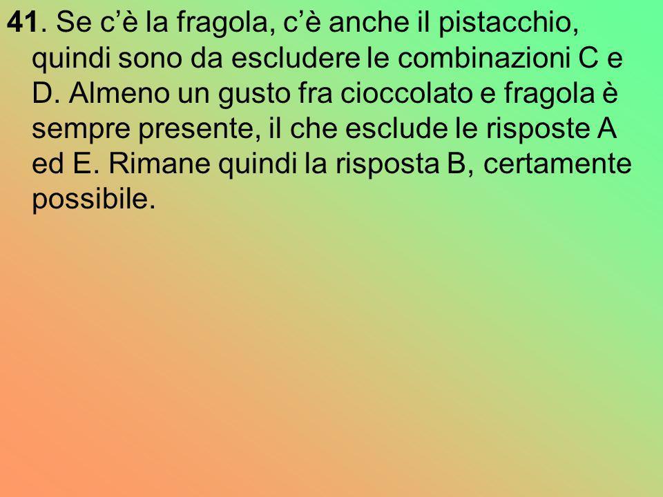 41. Se cè la fragola, cè anche il pistacchio, quindi sono da escludere le combinazioni C e D. Almeno un gusto fra cioccolato e fragola è sempre presen