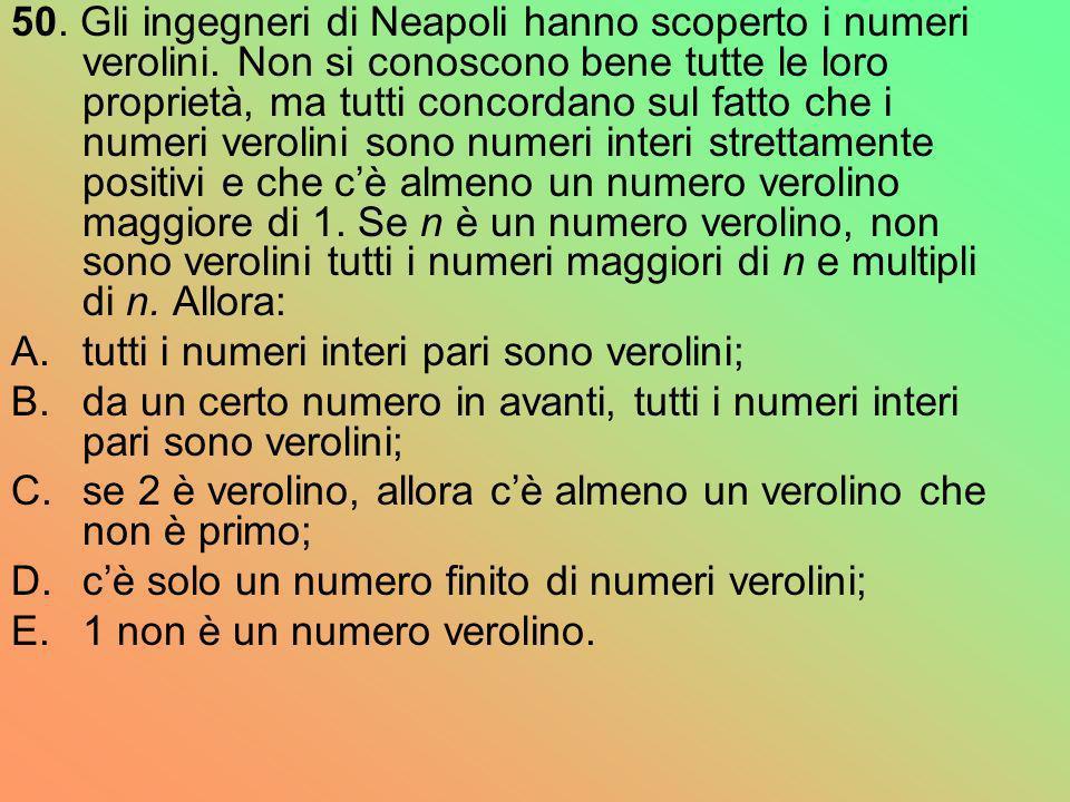 50. Gli ingegneri di Neapoli hanno scoperto i numeri verolini. Non si conoscono bene tutte le loro proprietà, ma tutti concordano sul fatto che i nume