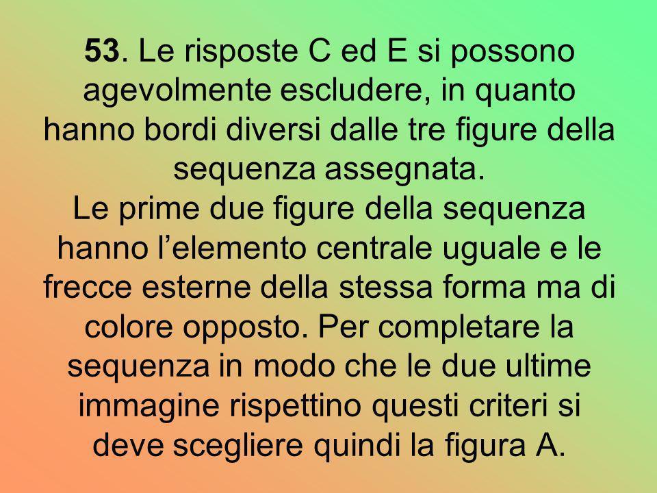 53. Le risposte C ed E si possono agevolmente escludere, in quanto hanno bordi diversi dalle tre figure della sequenza assegnata. Le prime due figure