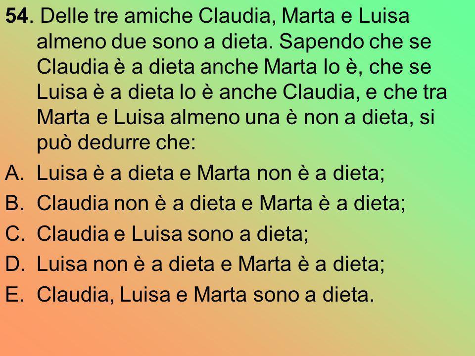 54. Delle tre amiche Claudia, Marta e Luisa almeno due sono a dieta. Sapendo che se Claudia è a dieta anche Marta lo è, che se Luisa è a dieta lo è an