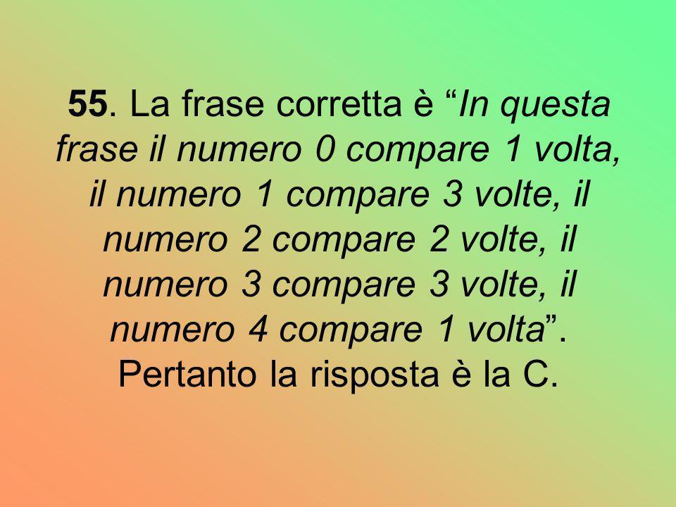 55. La frase corretta è In questa frase il numero 0 compare 1 volta, il numero 1 compare 3 volte, il numero 2 compare 2 volte, il numero 3 compare 3 v