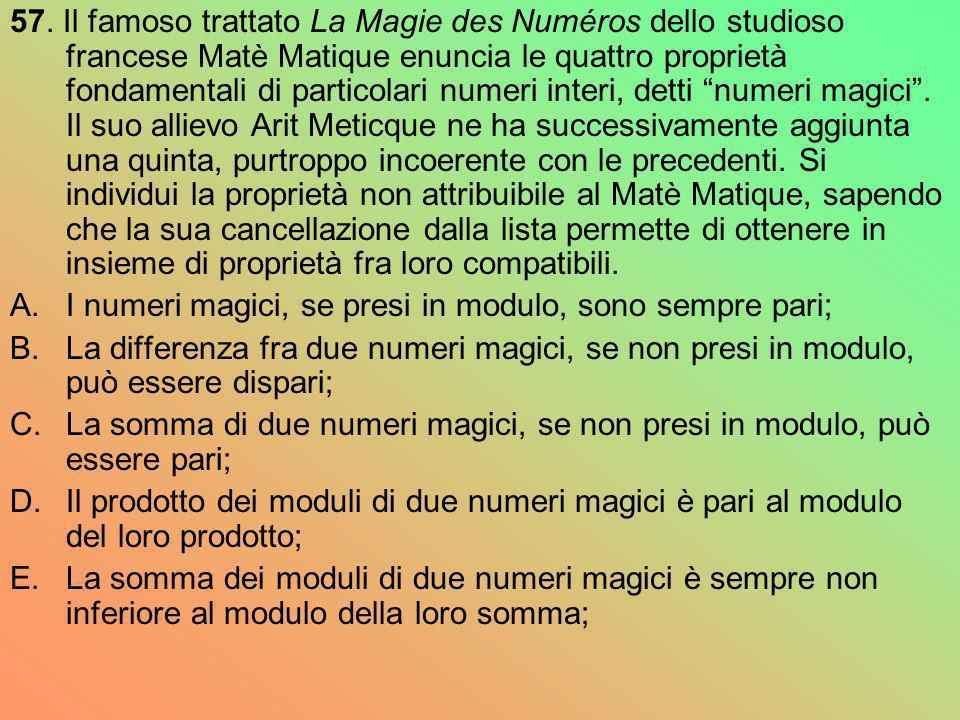 57. Il famoso trattato La Magie des Numéros dello studioso francese Matè Matique enuncia le quattro proprietà fondamentali di particolari numeri inter