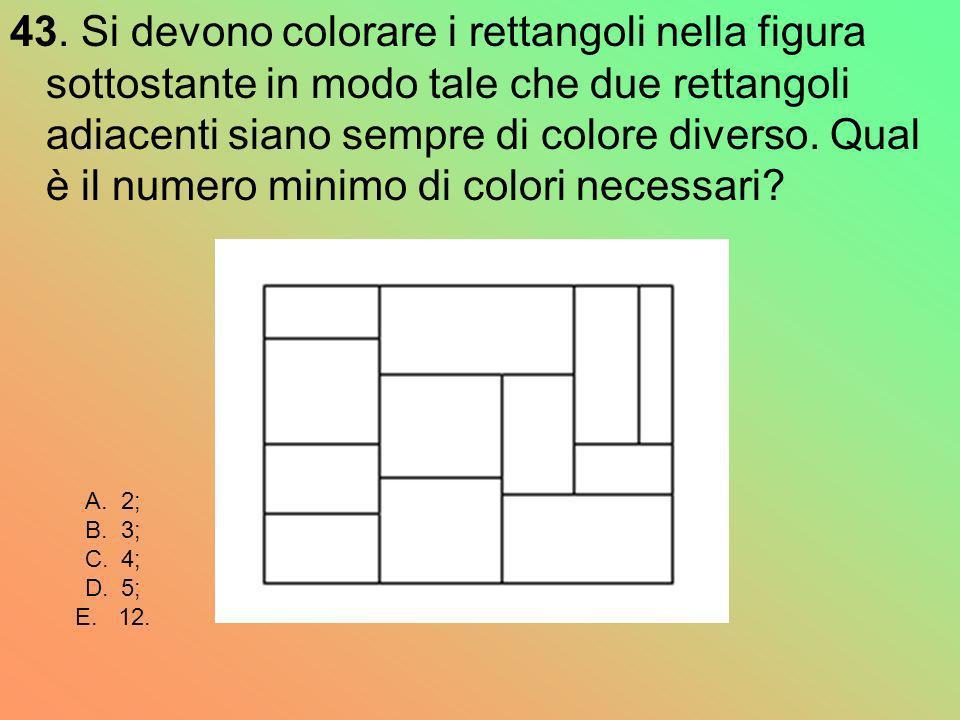 43. Si devono colorare i rettangoli nella figura sottostante in modo tale che due rettangoli adiacenti siano sempre di colore diverso. Qual è il numer