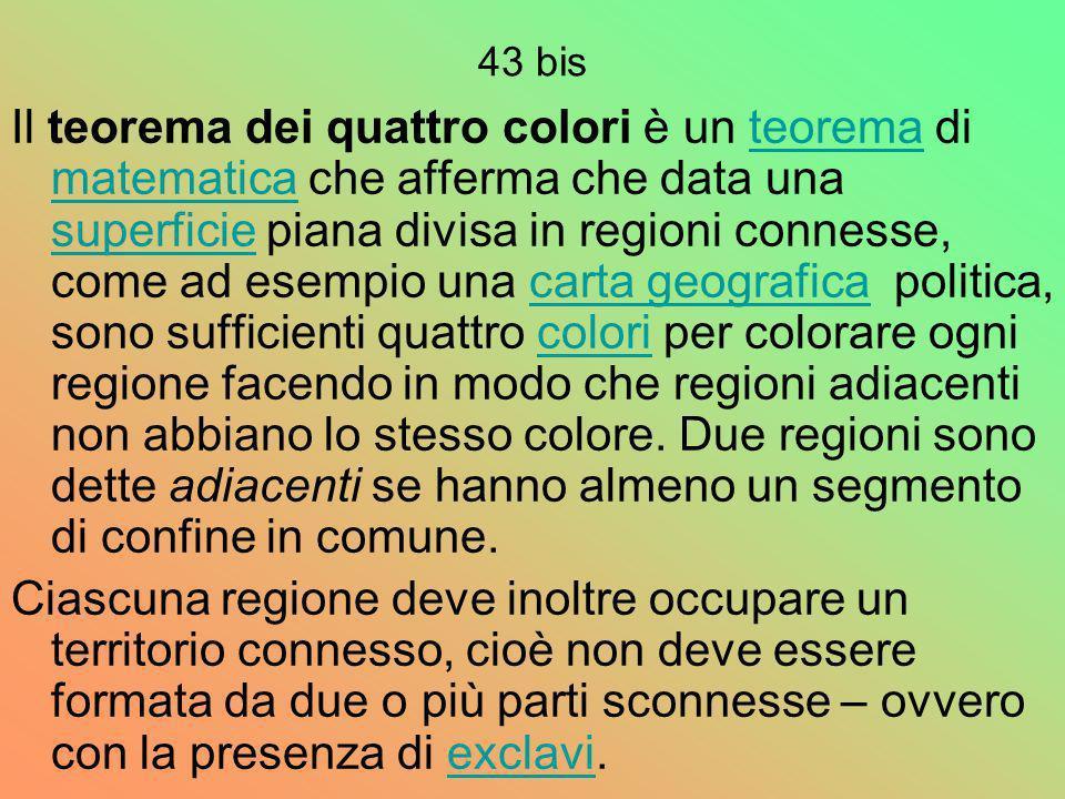 43 bis Il teorema dei quattro colori è un teorema di matematica che afferma che data una superficie piana divisa in regioni connesse, come ad esempio