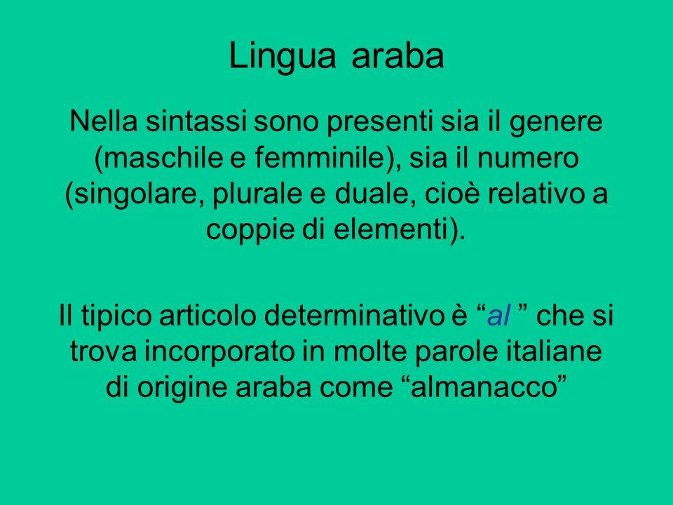 Nella sintassi sono presenti sia il genere (maschile e femminile), sia il numero (singolare, plurale e duale, cioè relativo a coppie di elementi). Il