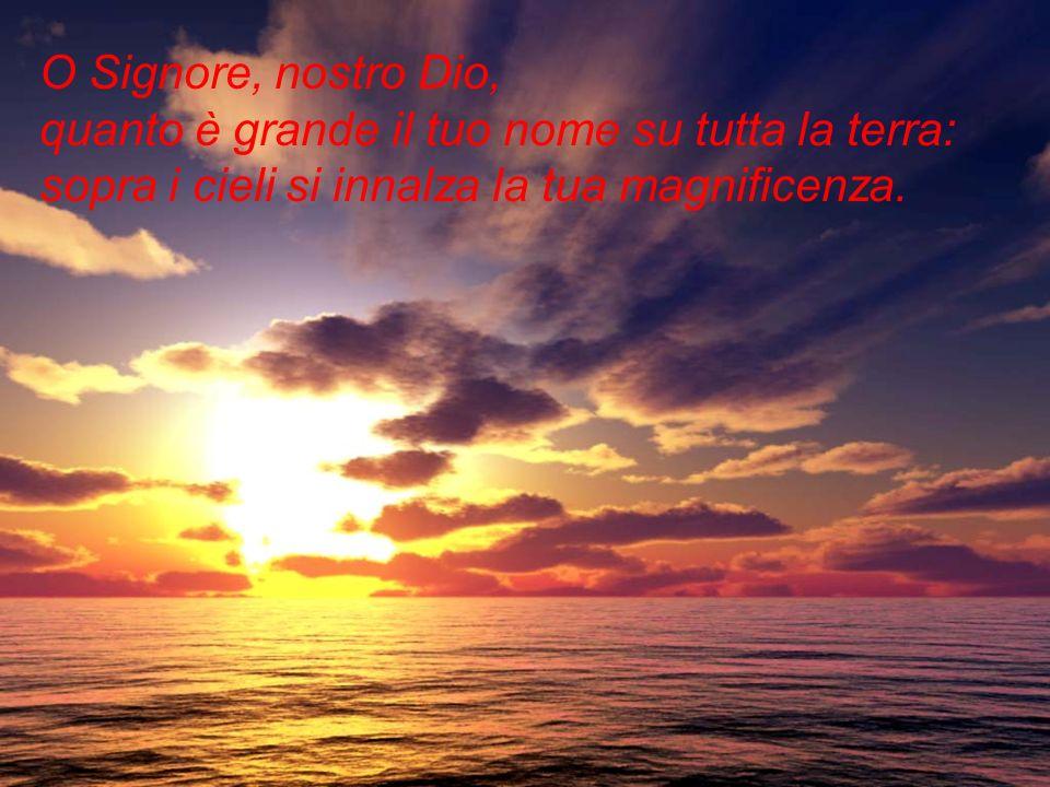 O Signore, nostro Dio, quanto è grande il tuo nome su tutta la terra: sopra i cieli si innalza la tua magnificenza.