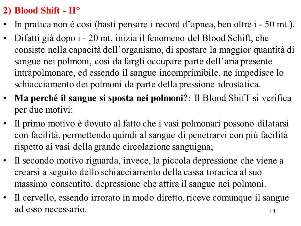 14 2)Blood Shift - II° In pratica non è cosi (basti pensare i record dapnea, ben oltre i - 50 mt.). Difatti già dopo i - 20 mt. inizia il fenomeno del