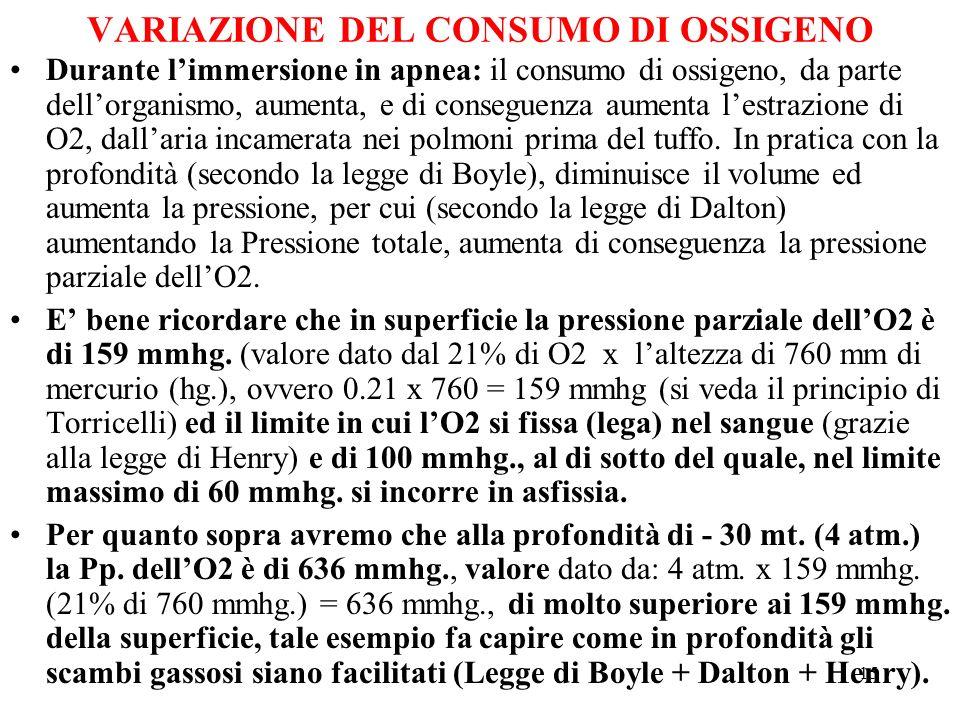 15 VARIAZIONE DEL CONSUMO DI OSSIGENO Durante limmersione in apnea: il consumo di ossigeno, da parte dellorganismo, aumenta, e di conseguenza aumenta