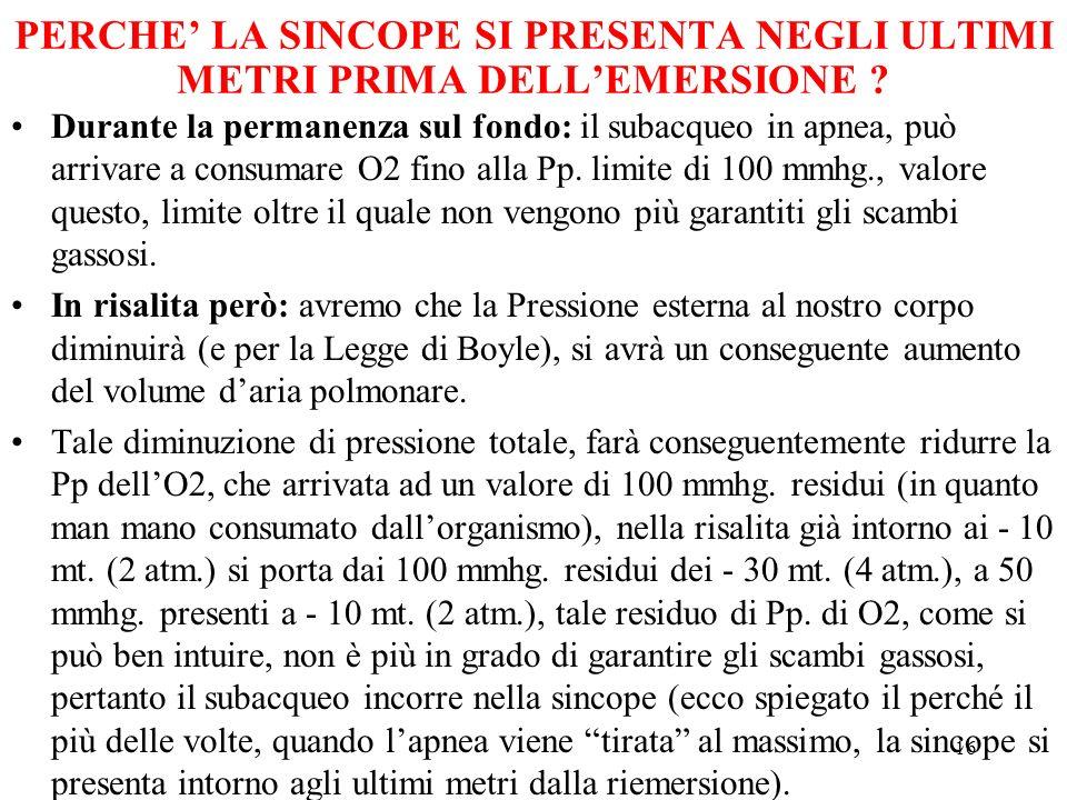 16 PERCHE LA SINCOPE SI PRESENTA NEGLI ULTIMI METRI PRIMA DELLEMERSIONE .