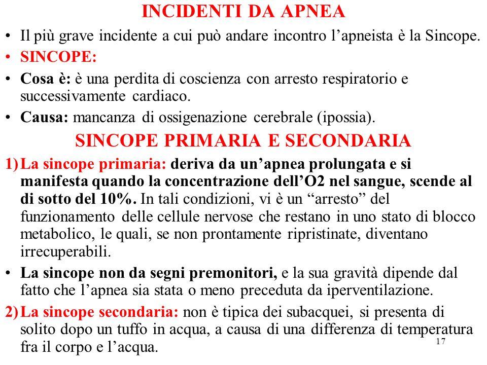 17 INCIDENTI DA APNEA Il più grave incidente a cui può andare incontro lapneista è la Sincope. SINCOPE: Cosa è: è una perdita di coscienza con arresto