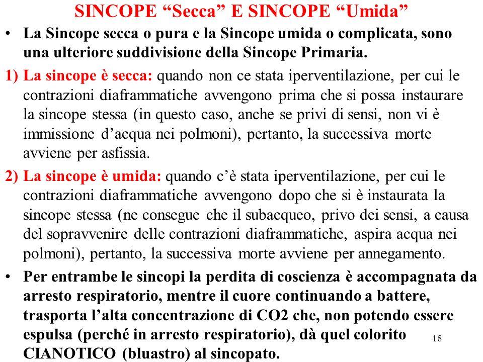 18 SINCOPE Secca E SINCOPE Umida La Sincope secca o pura e la Sincope umida o complicata, sono una ulteriore suddivisione della Sincope Primaria. 1)La