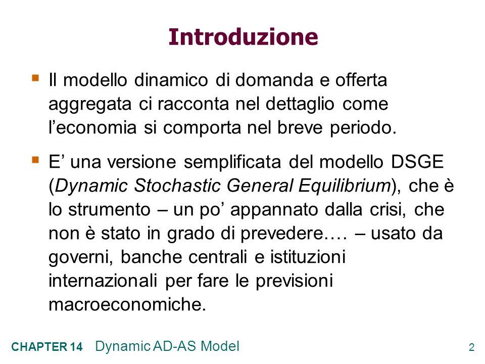 2 CHAPTER 14 Dynamic AD-AS Model Introduzione Il modello dinamico di domanda e offerta aggregata ci racconta nel dettaglio come leconomia si comporta nel breve periodo.