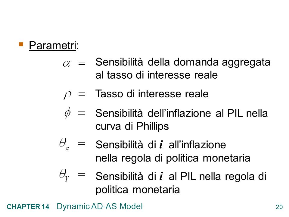 19 CHAPTER 14 Dynamic AD-AS Model Variabili esogene: Variabili predeterminate: Livello naturale del PIL Obiettivo di inflazione della B.C. Shock di do