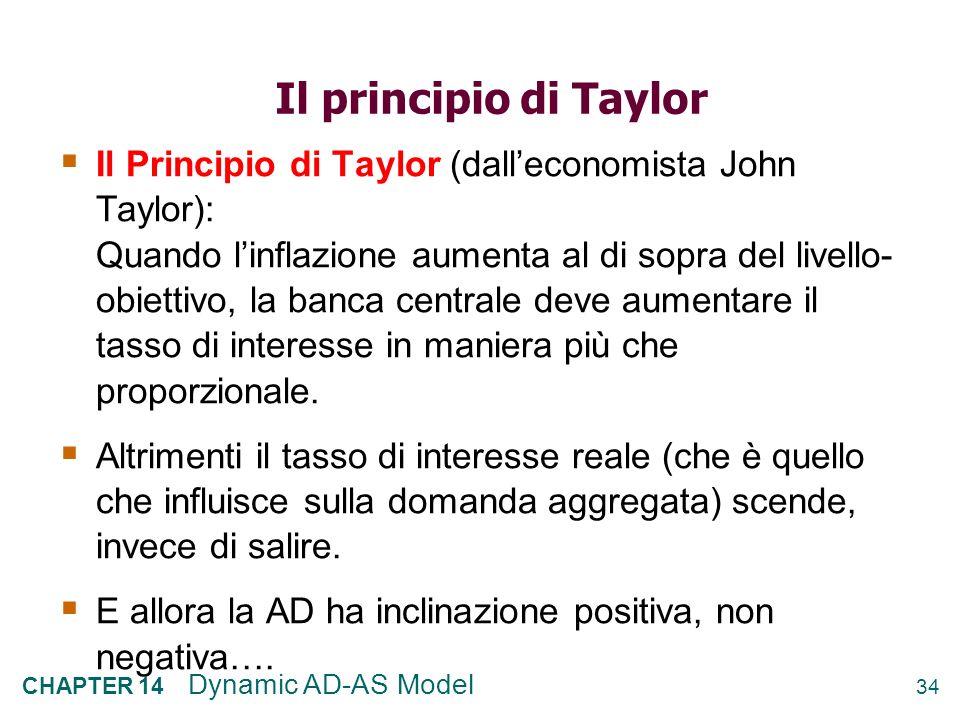 33 CHAPTER 14 Dynamic AD-AS Model 4) Una modifica degli obiettivi di inflazione t-1 :lobiettivo di inflazione è π * = 2%, equilibrio nel punto A π t –