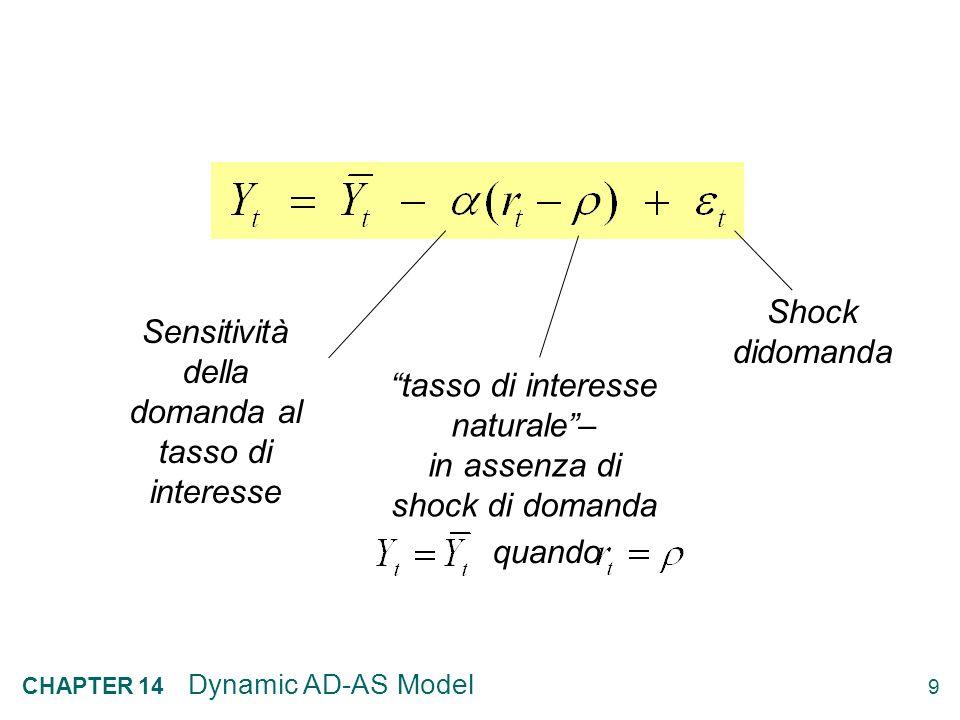 19 CHAPTER 14 Dynamic AD-AS Model Variabili esogene: Variabili predeterminate: Livello naturale del PIL Obiettivo di inflazione della B.C.