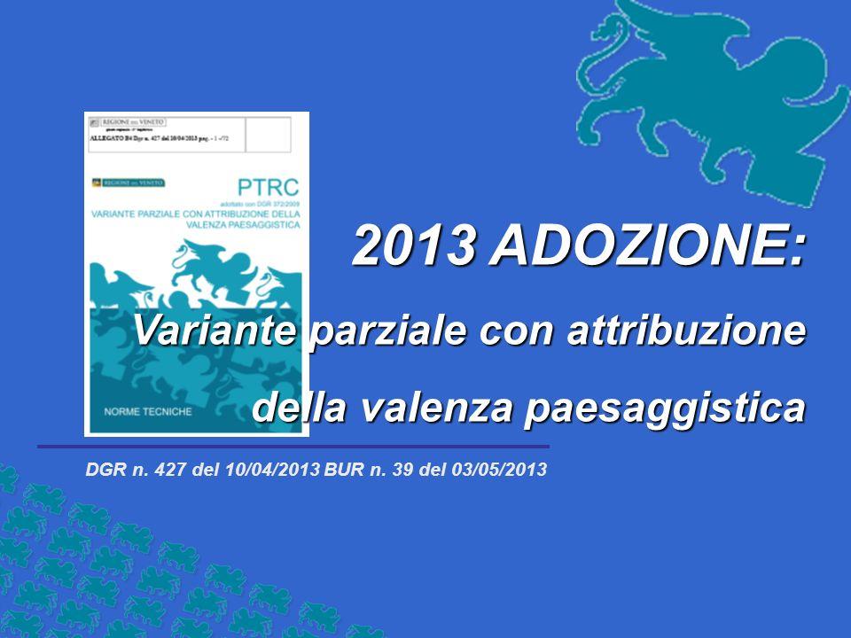 2013 ADOZIONE: Variante parziale con attribuzione della valenza paesaggistica DGR n.