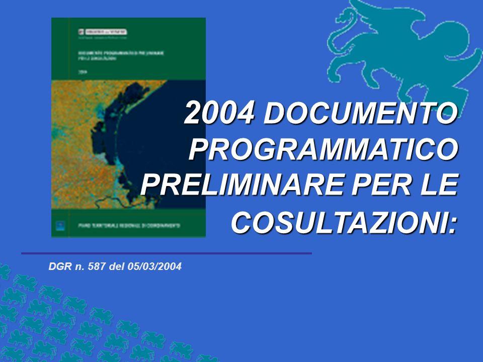 DGR n. 587 del 05/03/2004 2004 DOCUMENTO PROGRAMMATICO PRELIMINARE PER LE COSULTAZIONI: