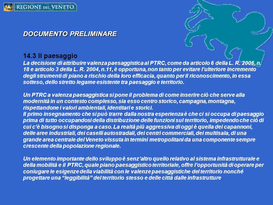 DOCUMENTO PRELIMINARE 14.3 Il paesaggio La decisione di attribuire valenza paesaggistica al PTRC, come da articolo 6 della L.