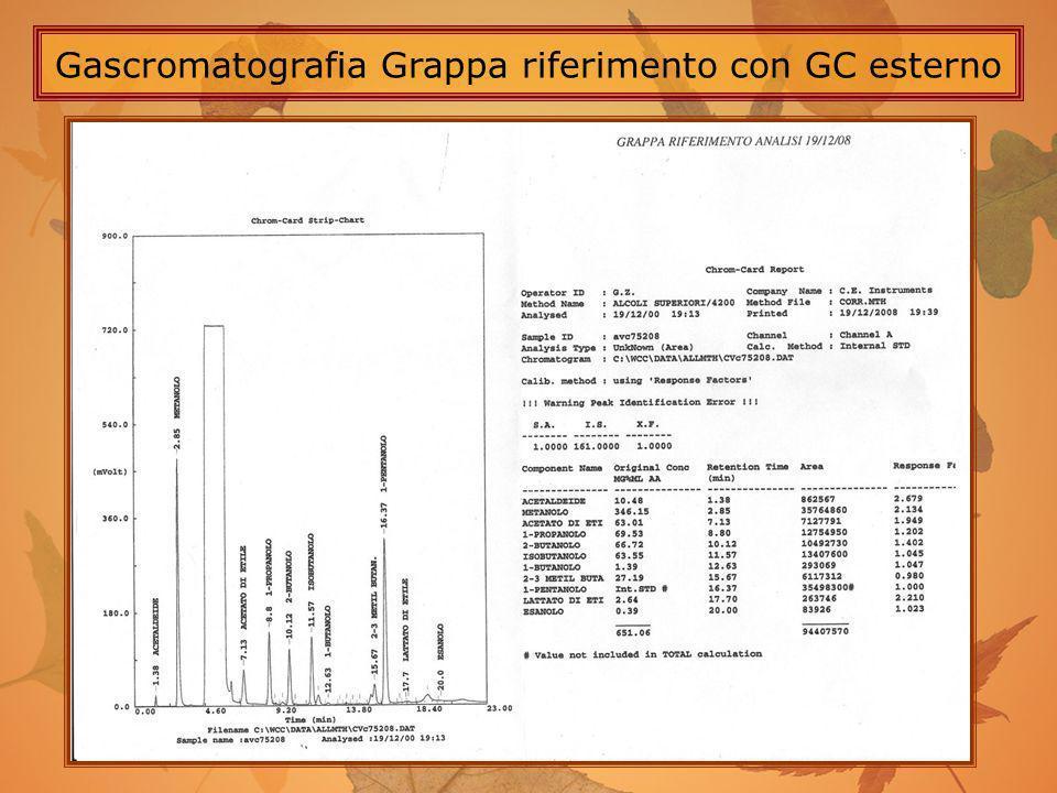 Gascromatografia Grappa riferimento con GC esterno