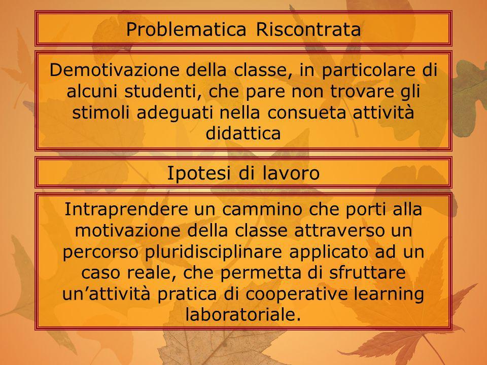 Demotivazione della classe, in particolare di alcuni studenti, che pare non trovare gli stimoli adeguati nella consueta attività didattica Problematic