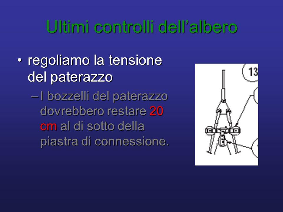 Ultimi controlli dellalbero regoliamo la tensione del paterazzoregoliamo la tensione del paterazzo –I bozzelli del paterazzo dovrebbero restare 20 cm al di sotto della piastra di connessione.